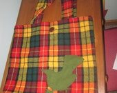 Great wool tote bag, upcycled, plaid, wool with bird applique