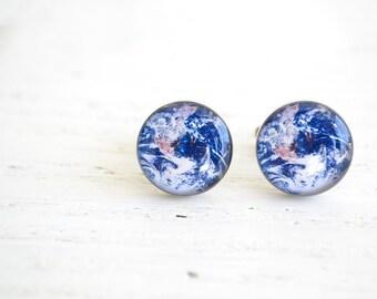 Earth planet blue cufflinks