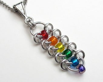 Rainbow pendant necklace, Centipede weave chainmaille, LGBT jewelry, gay pride pendant