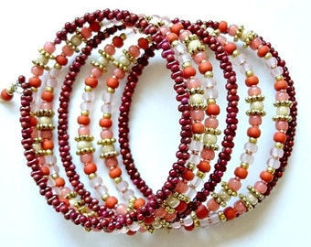 Beaded Memory Wire Cuff Bracelet in Salmon and Terra Cotta