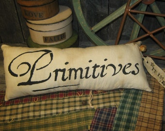"""Primitive Hand Painted Stenciled  Pillow """" PRIMITIVES """" Housewares Fall Decoration ThanksGiving Halloween"""