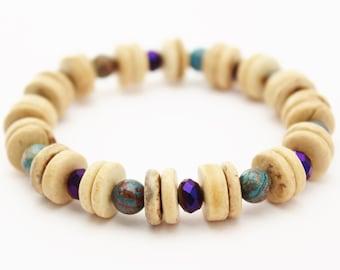 purple and blue bracelet coconut wood stretch heishi bracelet fire polished czech glass and jasper chunky