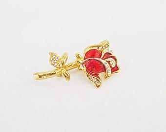 Vintage Rose Brooch, Red Enamel  Brooch, Rhinestone Goldtone Brooch, UK Seller