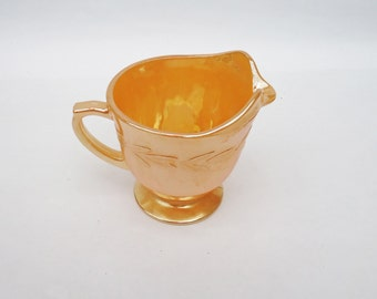 Vintage Fire King Peach Luster Creamer-Oven Ware, 1950s, Iridescent, UK Seller