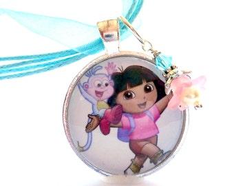 Dora Necklace, Childrens Jewelry, Kids Little Girls Jewelry, Dora Pendant, Birthday Gift, Glass Tile One Inch Round, Christmas Gift