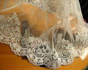 ivory Alencon Lace Trim, cord lace for bridal veil, alencon lace trimming with scallops
