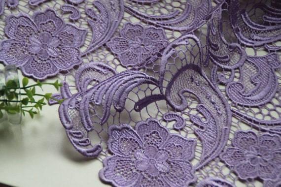 Lavender Crocheted Lace Fabric Retro Floral Lace Fabric