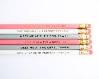 The Paris Collection Pencils - Pastel Pink, Grey, & White, set of 6