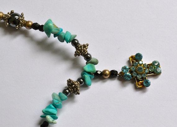 Vintage Turquoise Necklace & Cross Pendant, Native Inspired, Navajo, Estate Sale, Item No. B075