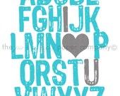 ABC I Love You 5x7 print (you choose colors)