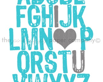 ABC I Love You 5x7 print (you choose colors)