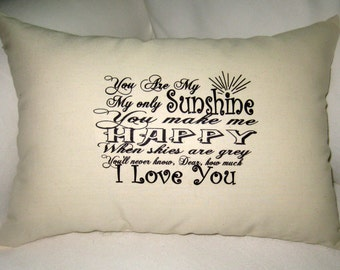 You Are My Sunshine Large Lumbar Pillow II, Baby Room Typography Cushion, Modern, Ivory Affordable Home Decor, Words, Song, Nursery, Shower