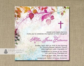 """Whimsical Baptism Invitation 5x5"""" Square Colorful Christening Watercolor Christian Cross FREE PRIORITY SHIPPING or DiY Printable - Milla"""