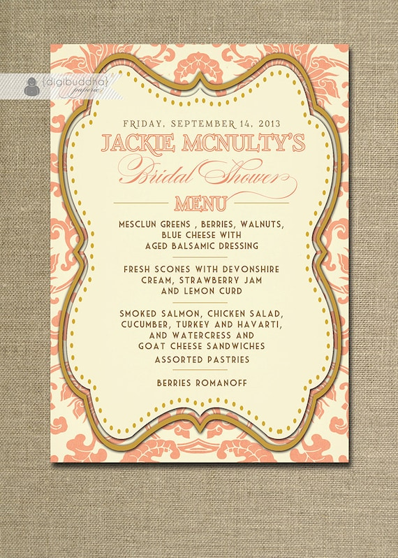 bridal shower menu coral damask gold wedding menus baby shower