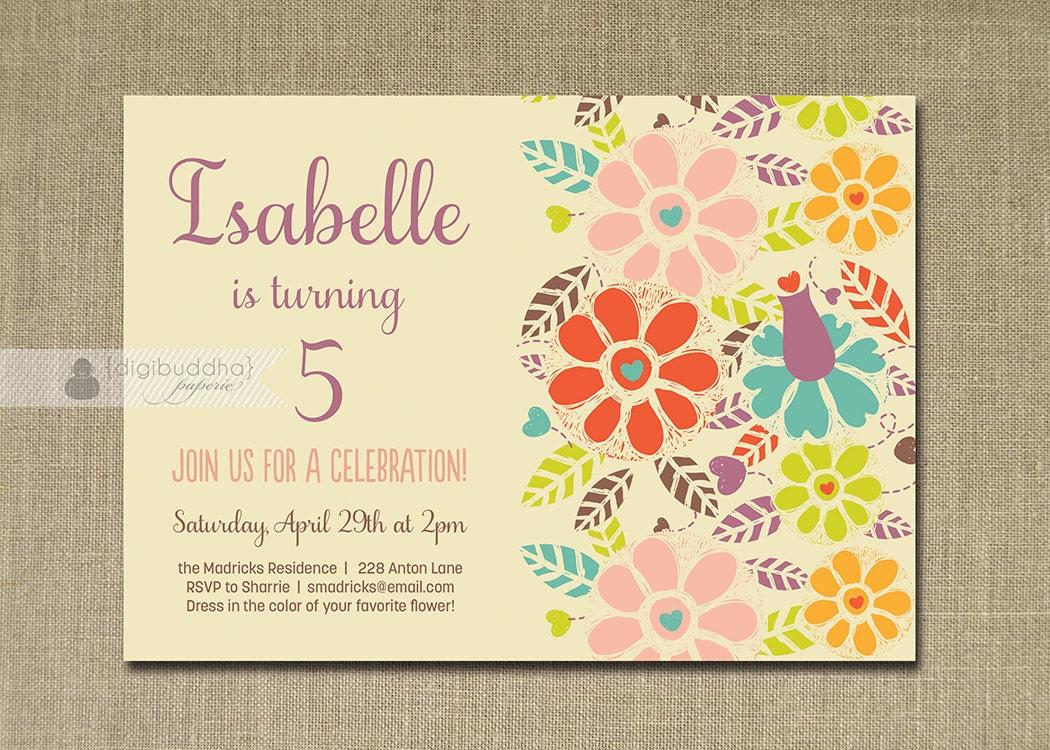Garden Birthday Invitation Pastel Bright Flowers Whimsical – Garden Birthday Party Invitations