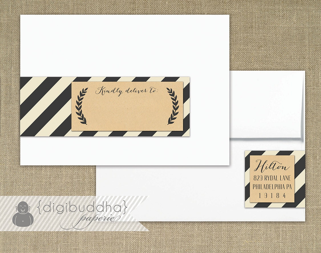 Kraft Striped Envelope Wrap Labels Printable Address Wraps
