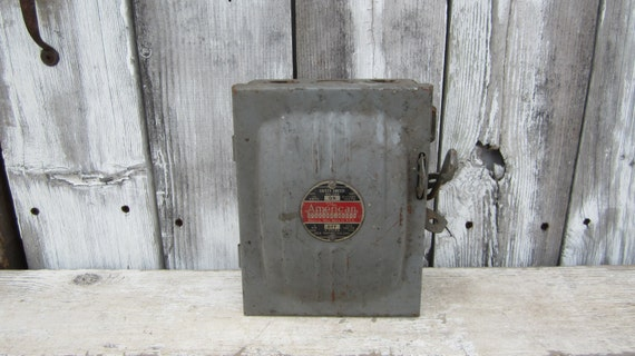 metal industrial panel fuse box gray by theoldtimejunkshop