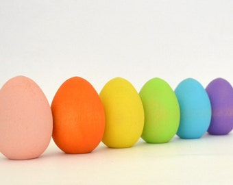 Pastel Easter Eggs - Natural Wood Toy - Waldorf Toy