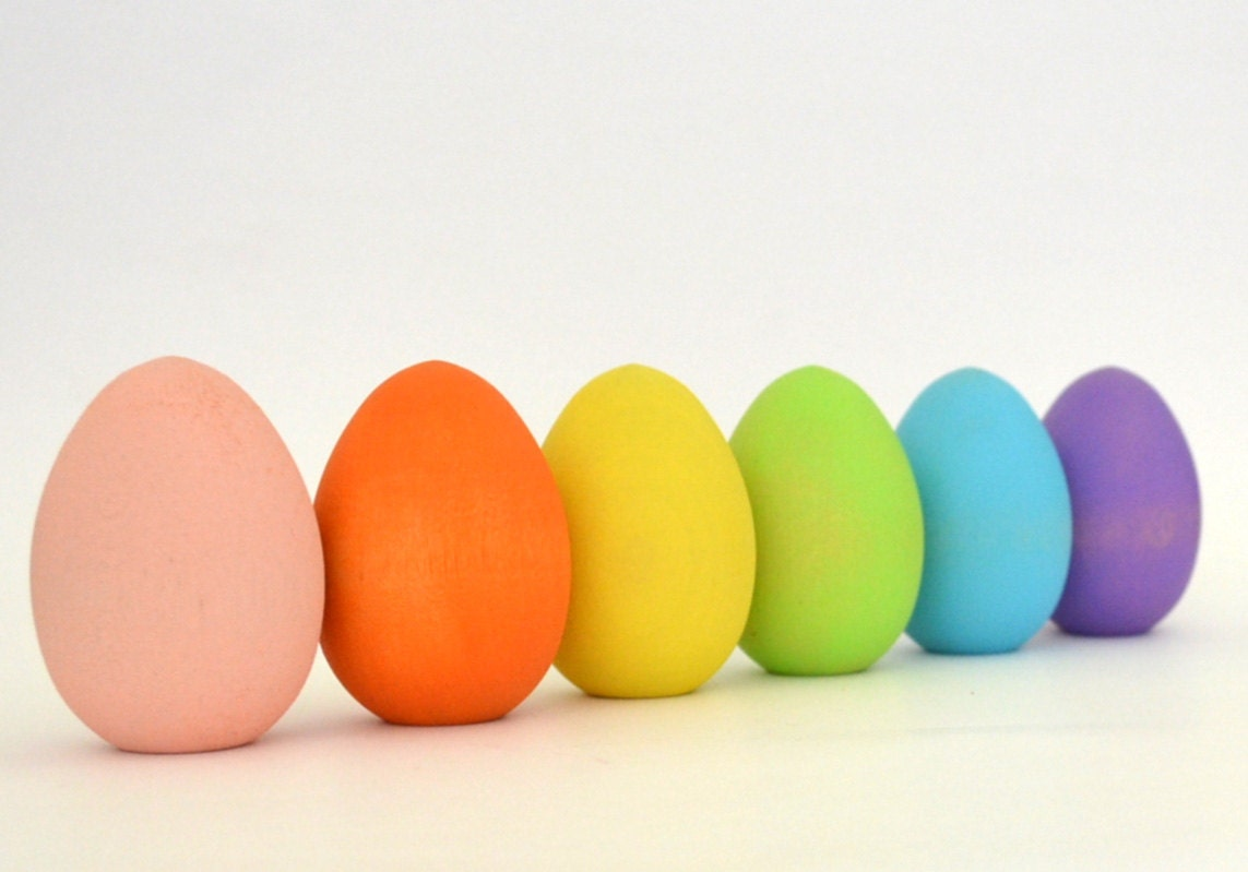 Pastel easter eggs natural wood toy waldorf toy - What are the easter colors ...