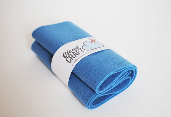 100 Percent Wool Felt Roll - 12x90cm - Cowboy Blue
