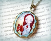 ON SALE!!! AMELY Ooak Large Art Cameo Locket Necklace By Odd Princess, Wearable Art, Gift For Her
