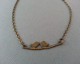 Antique Brass Love Bird Necklace