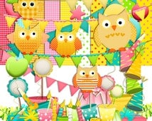 Owl Party Scrapbooking Kit / Owl Scrapbook Instant Download - Spend 20 dollers use code TAKE50OFF Get half Price