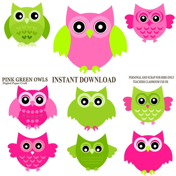 Owl Clipart Pink Owl Green owl Instant Download