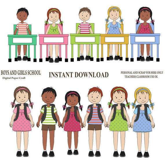 School Clipart School Children Clipart Instant Download