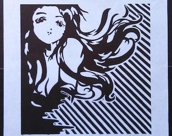 Anime Print - Black and White Anime Woman