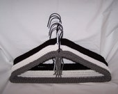 Set of 8 Beautiful Crochet Yarn Covered Hangers in Black, White & Gray