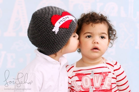 As Seen on NBC's TODAY SHOW The Original I Heart Mom Crocheted Hat | Valentines Day Boy Hat | sizes baby to teen