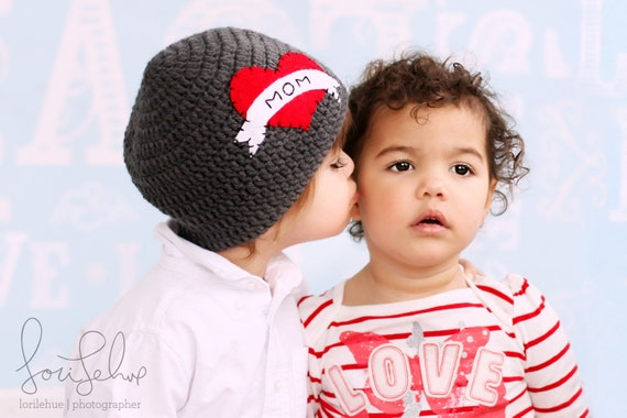 As Seen on NBC's TODAY SHOW, The Original I Heart Mom Crocheted Hat, Valentines Day Hat, Crochet Hat, Baby Hat, I Love Mom Hat, Baby Beanie