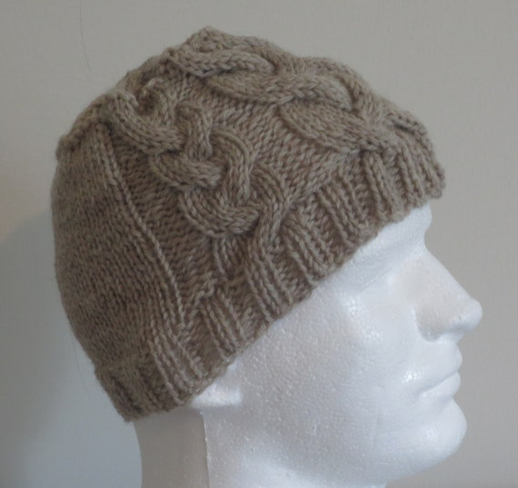 Tan Fishermans Wool Cable Hat -  hand knit