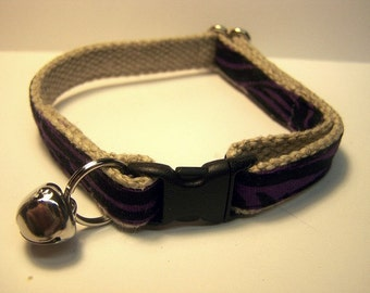 Handmade Hemp Cat Collar -Purple Zebra-
