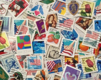 50 Assorted used postage stamps - grab bag - Scrapbooking -  Decoupage - card making - collage