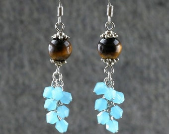 Tiger's eye teal crystal glass chandelier earrings Bridesmaids gifts Free US Shipping handmade Anni Designs