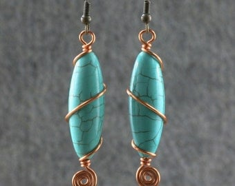 turquoise stone copper earrings Bridesmaids gifts Free US Shipping handmade Anni Designs