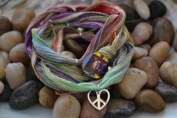 SALE! Hand Dyed Silk Yoga Bracelet with Sterling Silver Accents (Hawaiian Rainbow)