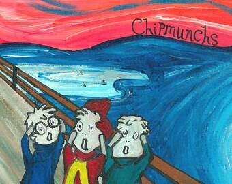 Chipmunchs // Edvard Munch Chipmunks pun art print