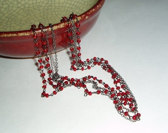Red Multiple Strand Beaded Necklace - Multi Chain Red and Gunmetal Chain Necklace