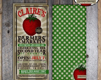 Farmers' Market Invitation | Farmers Market Invite | Strawberry Farm Invitation | Gardening Party Invitation | Address Labels | Printable