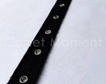 4 Yards x Black Corset Cotton Twill Eyelet Tape Silver Grommet Fastening Tape 2cm Wide