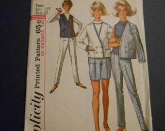 Vintage Simplicity 5976, Pants, shorts, jacket, Size: 12 teen