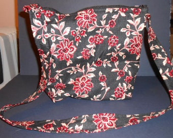 """Handmade Denim Look with Flowers  Print Purse,  over the shoulder purse, 9"""" by 11"""""""