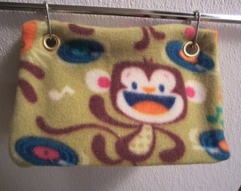Handmade, Monkey Pattern, Bird tent, Bird Hut, Bird Toy, Parrot Toy, Conure, Quaker, Lovebird, Parakeet, small animal.