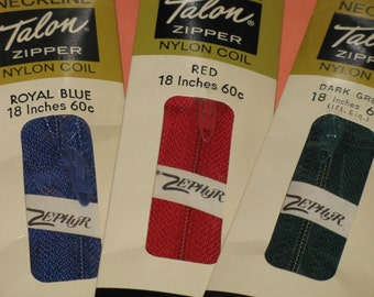 """Vintage Sewing Zippers Royal Blue, Dark Green, Red Lot of 3 -dated 1963 Neckline 18"""" Talon Nylon New in Package"""