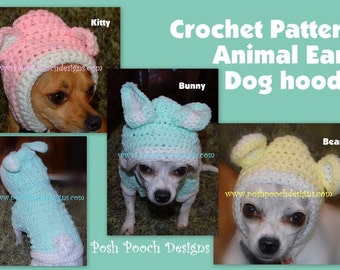 Instant Download Crochet Pattern - Animal Ears Dog Hoodie Small Dog Hoody  -Small Dog Sweater 2-15 lbs