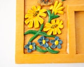 Wood Organizer Tray for Desk  Kitschy 70s Yellow Flowers & Butterflies
