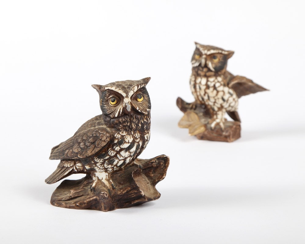 Owl Figurines Pair Vintage Home Decor By Twostoryvintage